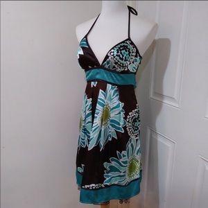 Halter top flower print dress